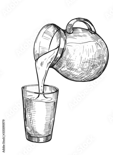Fototapeta Water, milk or juice is poured from a jug into a glass. Hand drawn illustration converted to vector obraz