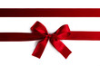 canvas print picture Red ribbon bow isolated on white