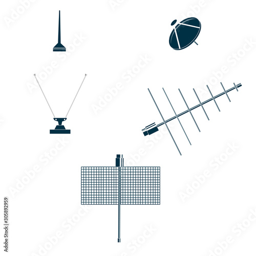 Antenna. Set of antennas for communication. Vector illustration Wallpaper Mural