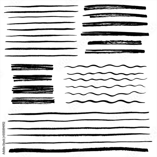 Fotografía  Set, collection of vector uneven lines, wavy stripes, doodle streaks, bars, rough brush strokes