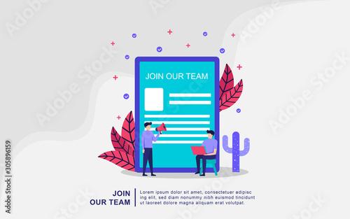Fotografía  We're hiring join our team Online Recruitment vector illustration concept, woman