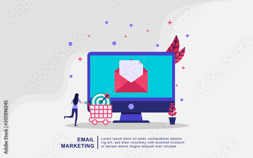 Illustration concept of email marketing Canvas Print