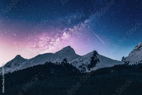 Poster Bleu nuit mountains at night