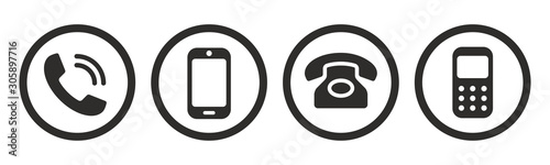 Cuadros en Lienzo Phone icon collection. Call sign. Vector