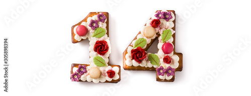 Valentine's Day cake with 14 number with flowers decorated isolated on white background Wallpaper Mural