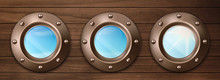 Ship Bronze Portholes On Woode...