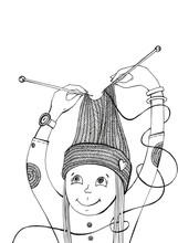 Girl Knitting Hat, Graphic Ill...