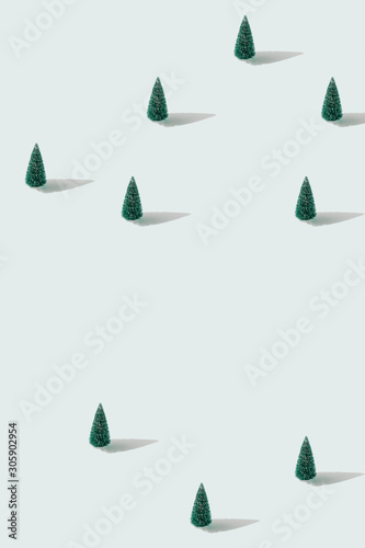 Minimal winter landscape scene with pine trees. - 305902954