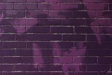 Dark Purple Brick Wall Texture With Various Paint Stripes