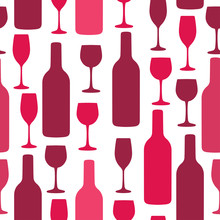 Seamless Background With Wine Bottles And Glasses. Bright Colors Pattern For Web, Poster, Textile, Print And Other Design