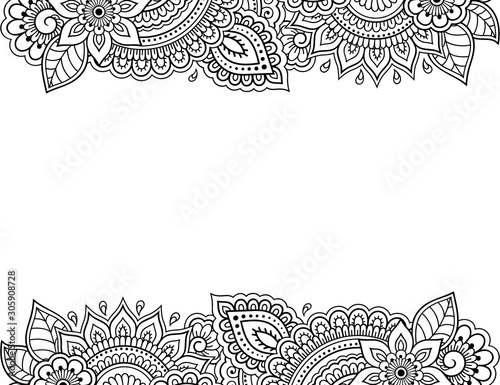 Stylized with henna tattoos decorative pattern for decorating covers for book, notebook, casket, magazine, postcard and folder. Flower in mehndi style. Frame in the eastern tradition. Fototapete