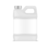 White Plastic Canister With Blank Label, Vector Mockup. Jug Container With Handle And Screw Cap, Mockup. Large Bottle Package, Template For Design