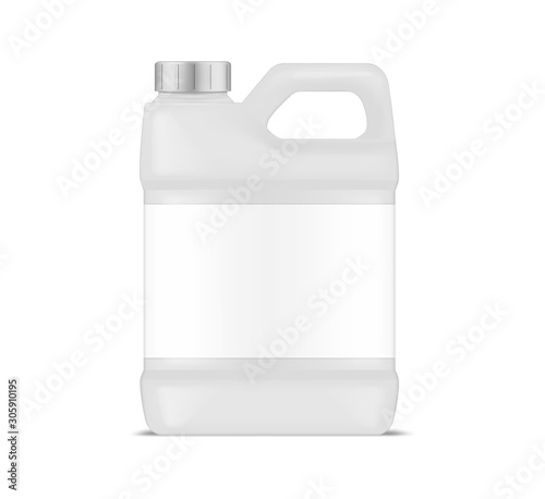 Photo White plastic canister with blank label, vector mockup
