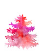 Red pink purple Watercolor christmas tree painted by hand isolated on a white background. Vertical raster postcard template with place for your text.