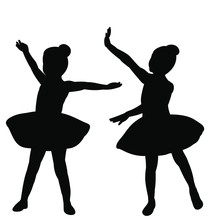 Vector, Isolated, Silhouette Of A Ballerina Girl Child Dancing Ballet