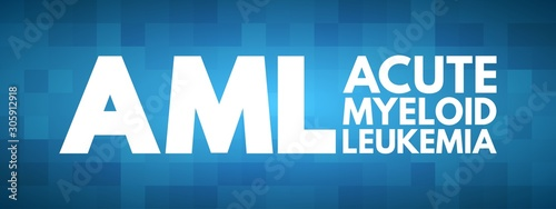 Photo AML - Acute Myeloid Leukemia acronym, medical concept background
