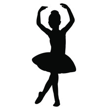 Vector, Isolated, Silhouette Of A Girl Child Ballerina Dancing
