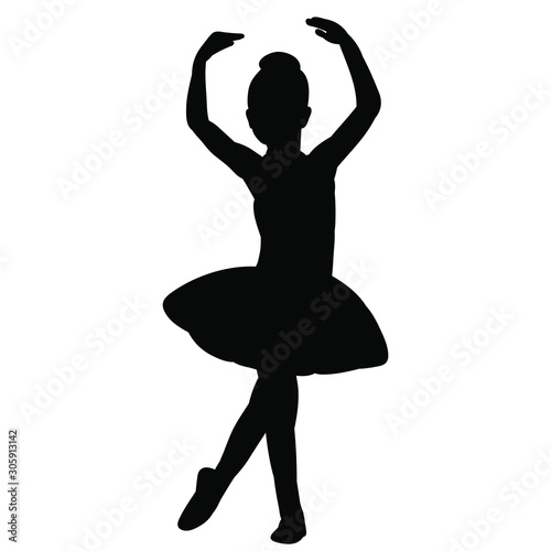 Photographie vector, isolated, silhouette of a girl child ballerina dancing