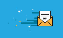Flat Design Of Sending Mail Icon. Marketing Email Concept. Color Flying Envelopes Isolated. Vector Illustration.