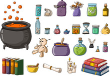 Magic Potion In Boiling Cauldron And Other Wizard Objects.