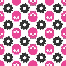 Skulls Seamless Pattern. Vecto...