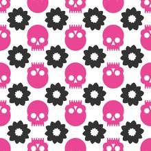 Skulls Seamless Pattern. Vector Flat Design Illustration.