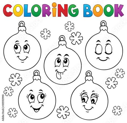 Spoed Fotobehang Voor kinderen Coloring book Christmas ornaments 1