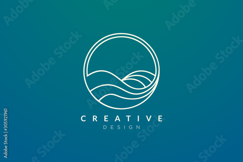 Ocean waves in a circle. Minimalistic and simple vector design. Fotobehang