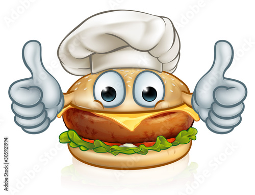 Photo  A burger cartoon character food mascot in a chef hat giving a thumbs up