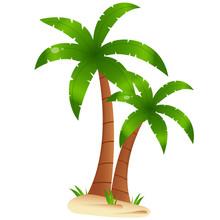 Color Image Of Cartoon Palm Tr...