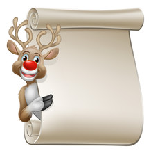 Christmas Reindeer Cartoon Character Peeking Around A Scroll Sign And Pointing At It