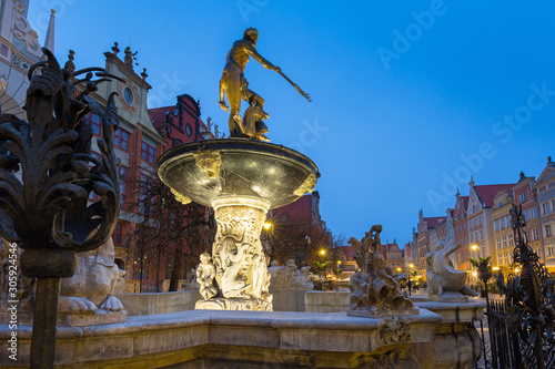 Beautiful architecture of the old town in Gdansk with Neptune fountain at dawn, Wallpaper Mural