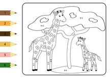 Math Coloring Page For Kids. Study Subtraction And Addition. Cute African Animals - Giraffe Mom And Her Baby. Educational Game.