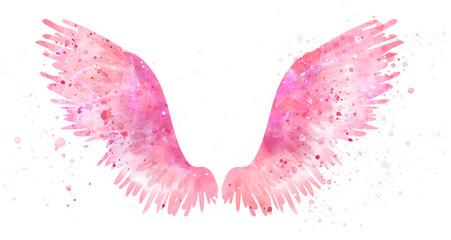 Pink spreaded magic angel watercolor wings