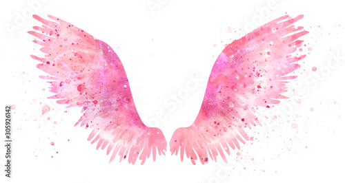 Canvas Print Pink spreaded magic angel watercolor wings