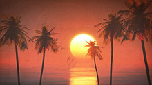 Sunset On The Beach 3d Paint