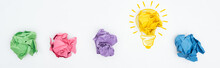 Panoramic Shot Of Multicolored Crumpled Paper Balls And Light Bulb Illustration On White Background, Business Concept