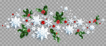 Decoration With Snowflakes And Holly