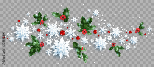 Fotobehang - Decoration with snowflakes and holly
