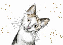 Watercolor Hand Drawn Illustration: Cute Kitten With Big Eyes And A Curious Attitude