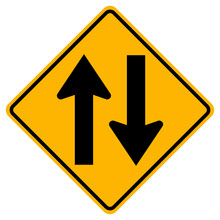 Two Way Traffic Road Sign,Vect...