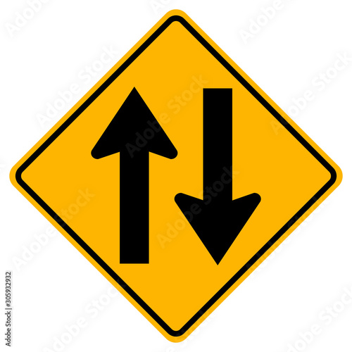 Fototapeta Two Way Traffic Road Sign,Vector Illustration, Isolate On White Background Label