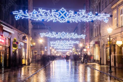 Fotografija  Ulica Grodzka Kraków, ozdoby świąteczne, Polska