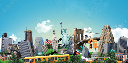 Fototapeta USA, concept on the theme of New York and its attractions obraz