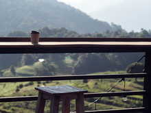Paper Hot Coffee Cup With Great Mountain View