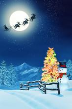 Snowman, Christmas Tree And Sa...