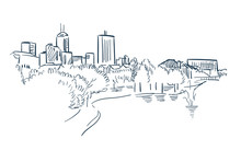 Indiana Indianapolis Vector Sketch Line Usa Landscape Hand Drawn
