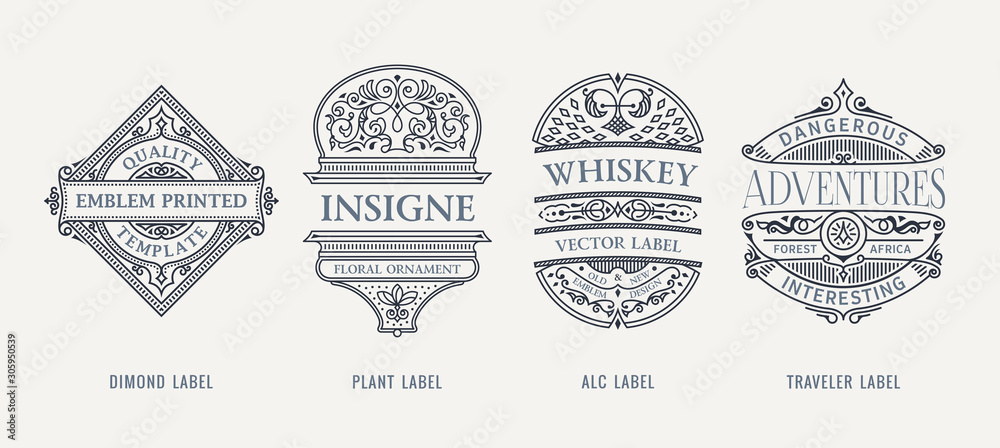 Fototapeta Set of Vintage beer frames and labels. Craft premium logos. Design emblems on transparent background