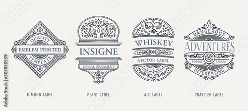 Fototapeta Set of Vintage beer frames and labels. Craft premium logos. Design emblems on transparent background obraz
