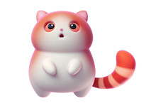 Surprised Little Kawaii Red Cat With Open Mouth And Big Orange Eyes Floating In The Air. Cartoon Funny Fat Cat With White Belly And A Striped Tail. 3d Digital Illustration Isolated On White Background